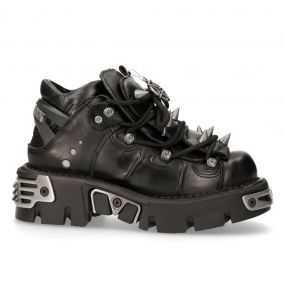 Black New Rock Metallic Reactor Shoes with Spikes and Pentagrams