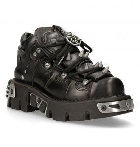 Chaussures New Rock Metallic Reactor Noires avec Spikes et Pentagrammes