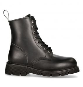 Black Leather New Rock Newmili Ankle Boots