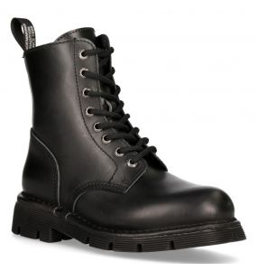 Bottines New Rock Newmili en Cuir Aniline Noir