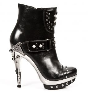 Bottines New Rock Punk en Cuir Nomada Noires