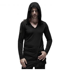 Black 'Morok' Hooded Assymetric Sweater
