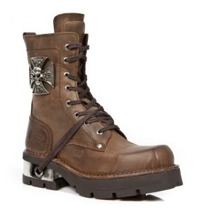 Brown Leather New Rock Neo Biker Ankle Boots with Skull and Malta Cross