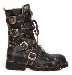 Bottes New Rock Comfort Light en Cuir Vintage Raclé Marron