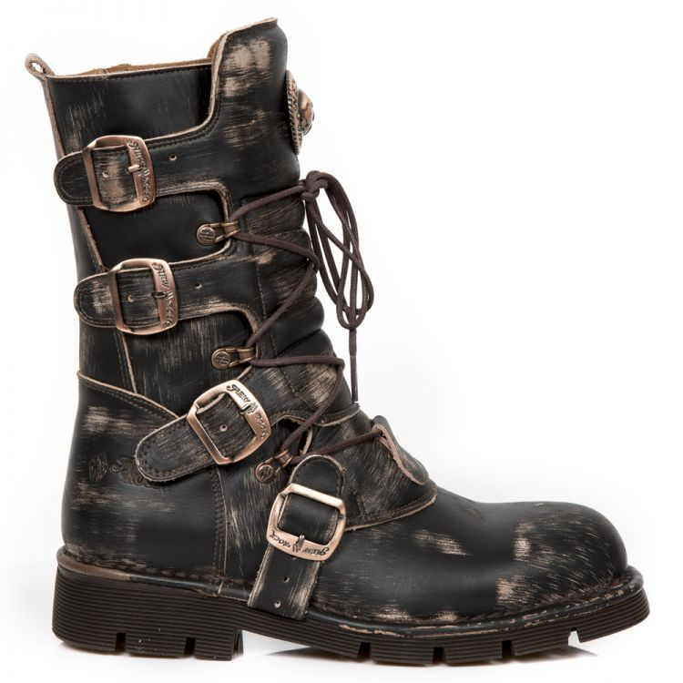 Brown Vintage Stratchy Leather New Rock Comfort Light Boots