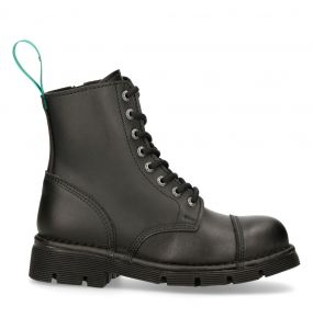 Bottines New Rock Newmili en Simili Cuir Noir