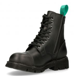 Black Vegan Leather New Rock Newmili Ankle Boots