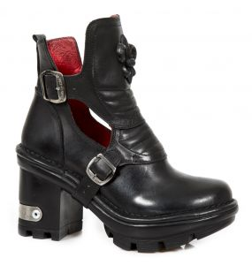 Bottines New Rock Neotyre en Cuir Noir
