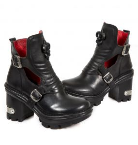 Black Leather New Rock Neotyre Ankle Boots