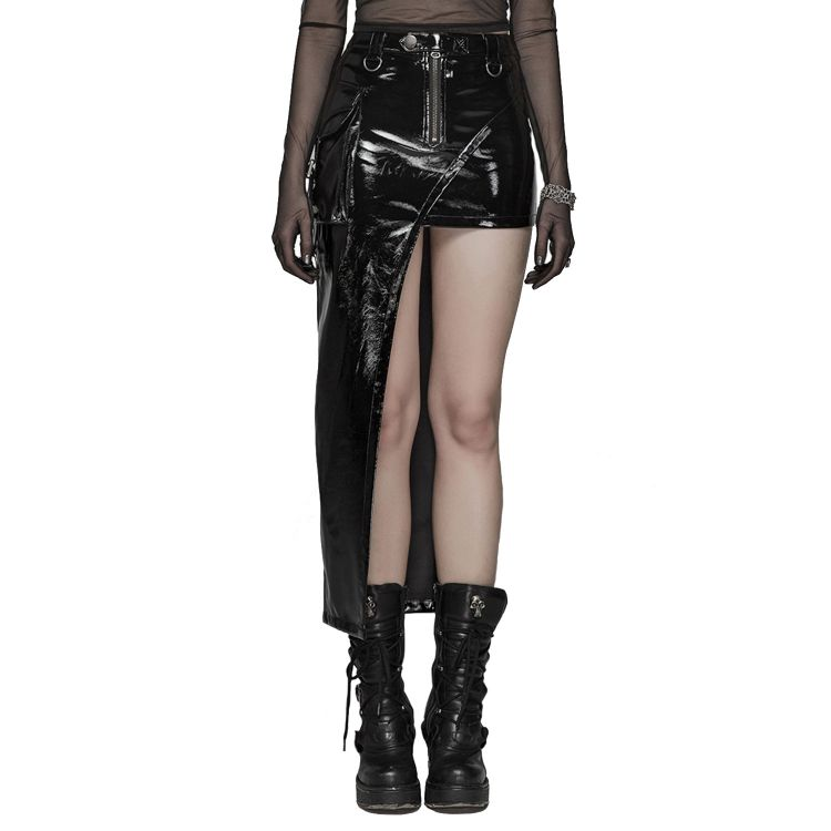 Black Vegan Leather 'Dark City' Asymmetric Skirt