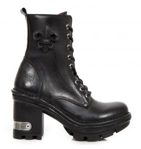 Bottines New Rock Neotyre en Cuir Itali Noir