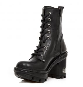 Black Itali Leather New Rock Neotyre Ankle Boots