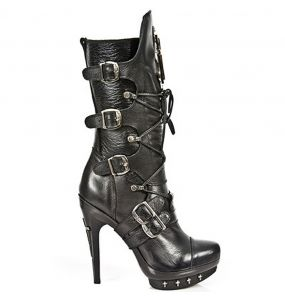 Black Nomada Leather New Rock Punk Boots