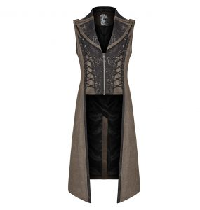 Long Gilet Steampunk 'Nautilus' Marron