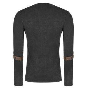 Black and Brown Long Sleeves 'Nautilus' Top