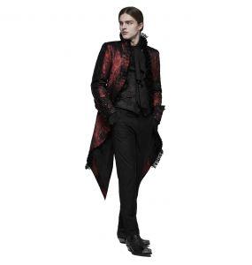 Longue Veste Fendue 'Versailles' Rouge et Noire
