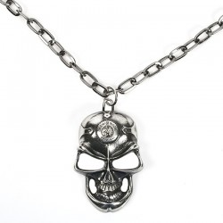 Skull Silver Pendant with Chain