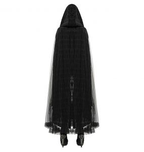 Hooded Cape 'Black Swan' in Black Lace