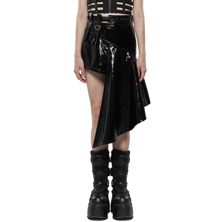 Black PVC 'Astarte' Asymmetric Skirt