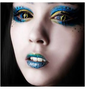 Blue and Yellow 'Xorn' Sclera Contact Lenses