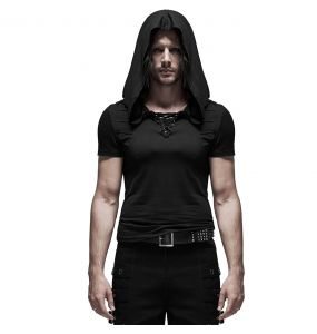 Black 'Ghostland' Sleeve Less Hooded T-Shirt