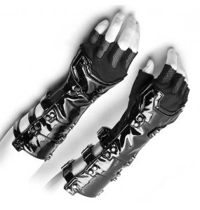 Black Vinyl and Mesh 'Mesmerizer' Males Gloves