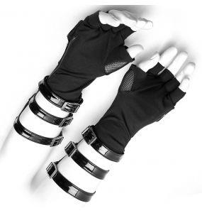 Black Vinyl and Mesh 'Mesmerizer' Males Gloves