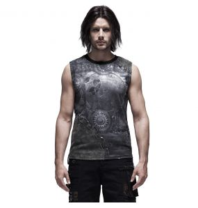 Black 'Mechanical' Sleeveless T-Shirt