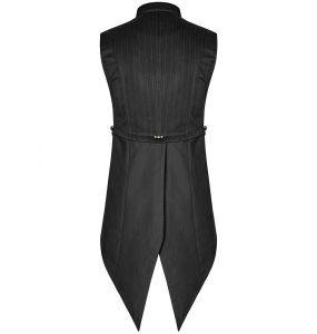 Black Striped 'Mephisto' Tailcoat Vest