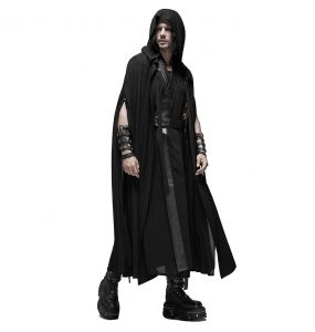 Black 'Ghostland' Long Hooded Cape