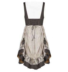 Beige and Coffee 'Saturna' Steampunk Dress