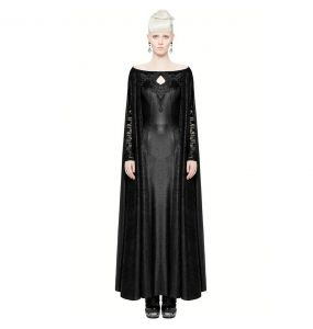 Black 'Nightspell' Long Gothic Cape Dress