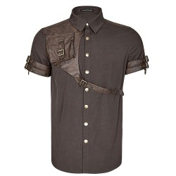 Chemise Steampunk Manches Courtes 'Aviator' Marron