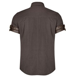 Brown Steampunk 'Aviator' Shortsleeve Shirt