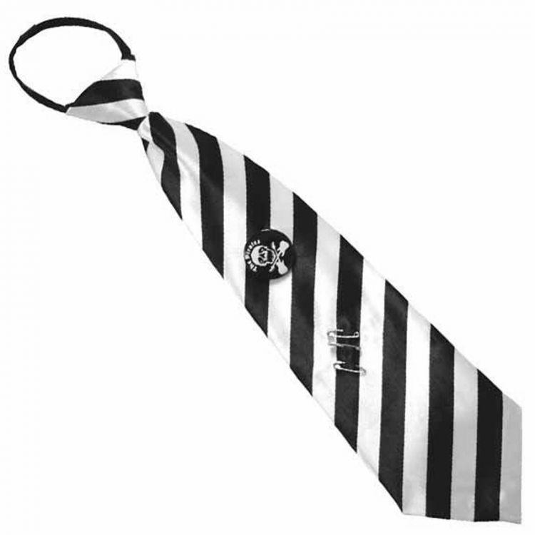 White and Black Stripes Satin Tie