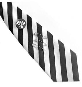 White and Black Stripes Satin Tie