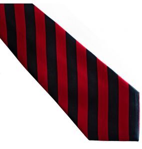 Red and Black Stripes Satin Tie