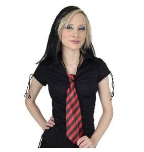 Cravate satinée 'Red and Black Stripes'