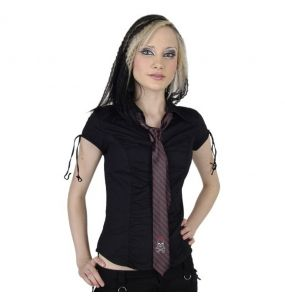 Black 'Girly Skull' Satin Tie with Red Stripes