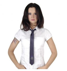 Black 'Girly Skull' Satin Tie with Purple Stripes