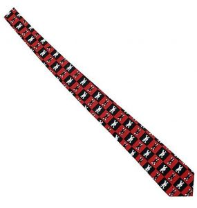 Cravate Satinée 'Catbones' à Damiers Rouges et Noirs