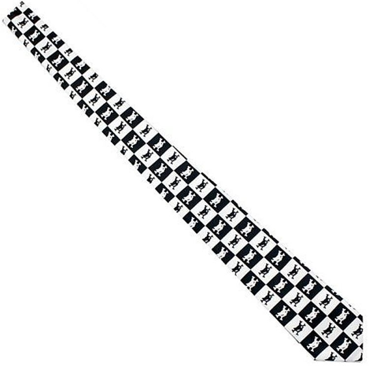 Black and White Chequered 'Catbones' Satin Tie