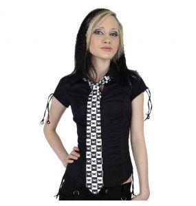 Cravate Satinée 'Catbones' à Damiers Noirs et Blancs