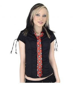 Black and Red Chequered 'Skulls' Slim Satin Tie