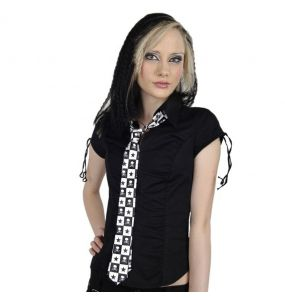 Black and White Chequered 'Skulls' Slim Satin Tie