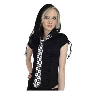 Cravate Satinée Slim 'Skulls' à Damiers Noirs et Blancs