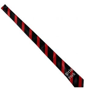 Black 'Girls Rock' Satin Tie with Red Stripes