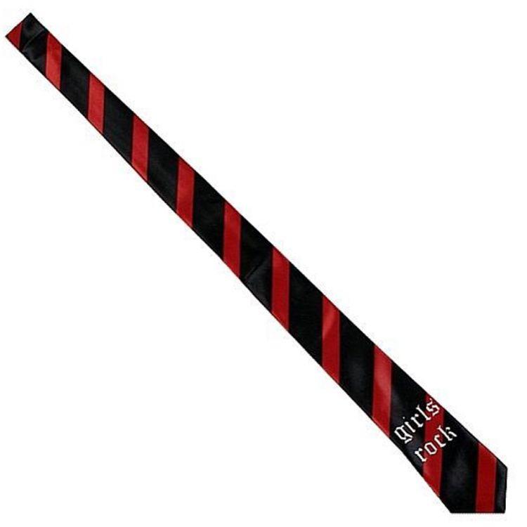 Cravate Satinée 'Girls Rock' Noire à Rayures Rouges