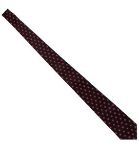 Black 'Red Stars' Slim Satin Tie
