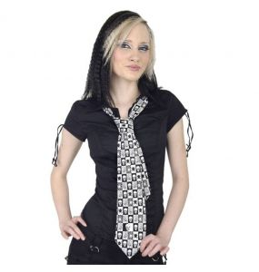 Black and White Chequered 'Skulls and Spiders' Tie